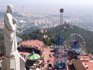 Barcelona from the top of the Tibidabo mountain