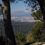 Der Berg Montserrat, von Collserola aus gesehen