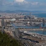Barcelonas Hafen vom Montjuic aus gesehen